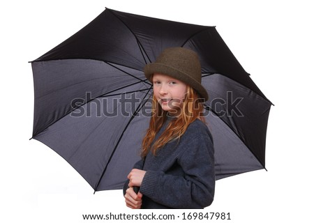 Portrait of a young girl with opened umbrella on white background - stock photo