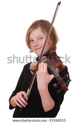 Portrait of a young girl with violin on white background - stock photo