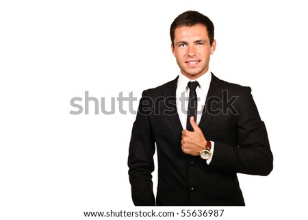 Portrait of a young hadsome businessman - stock photo