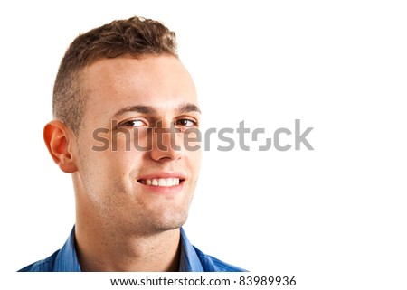Portrait of a young handsome man isolated on white