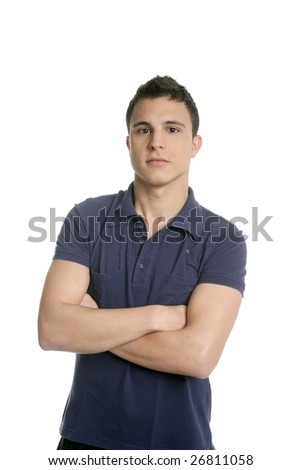 Portrait of a young handsome man with blue shirt isolated on white