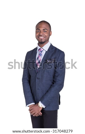 Portrait of a young handsome teen in a suit, isolated on white. - stock photo