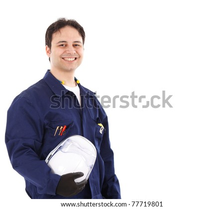Portrait of a young handsome worker - stock photo
