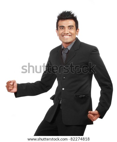 Portrait of a young happy business man isolated on white background - stock photo