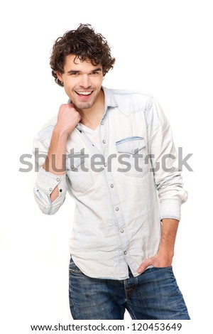Portrait of a young happy smiling casual man isolated on white background - stock photo
