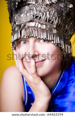 Portrait of a young happy woman - stock photo