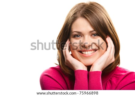 Portrait of a young happy woman against white background - stock photo