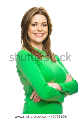 Portrait of a young happy woman isolated on white background - stock photo