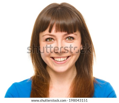 Portrait of a young happy woman, isolated over white