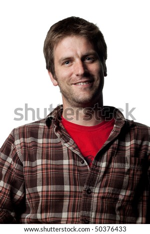 portrait of a young happy working man - stock photo