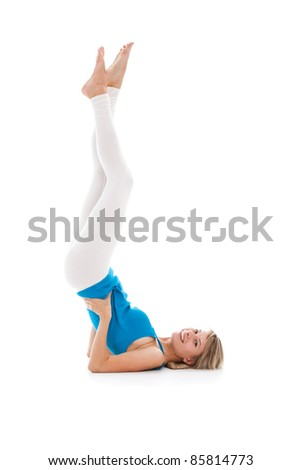 Portrait of a young healthy woman fitness abdominal exercises - stock photo