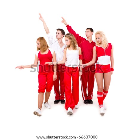 Portrait of a young hip hop dancers showing different dancing poses - stock photo