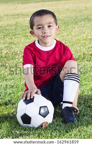 Portrait of a Young Hispanic Soccer Player - stock photo