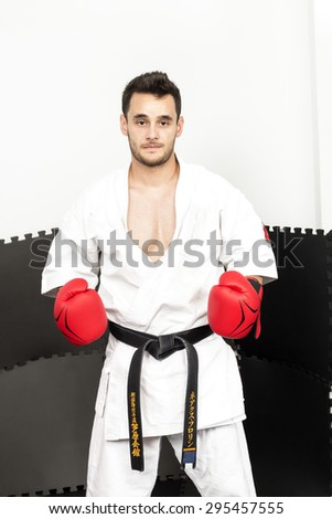 Portrait of a young karate man wearing red gloves and kimono ready to fight  - stock photo
