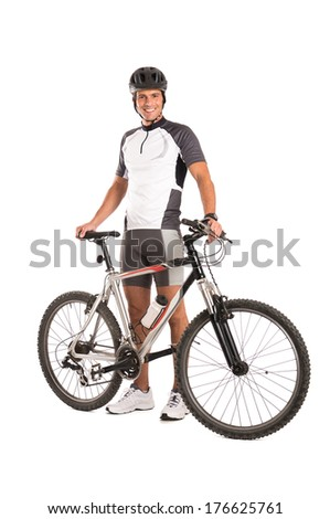 Portrait Of A Young Male Cyclist Isolated On White Background  - stock photo