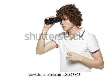 Portrait of a young male looking for new opportunities, over white background - stock photo