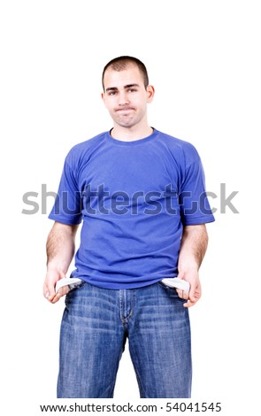 portrait of a young male student with empty pokets - stock photo