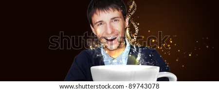 Portrait of a young man drinking coffee and looking at camera. Shining glitter and steam with warm words. Ready for use advertisement banner