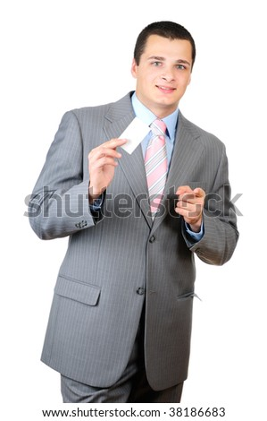 Portrait of a young man holding a blank card isolated on white background