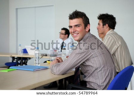 Portrait of a young man in a training room - stock photo