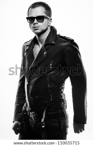 portrait of a young man in leather jacket