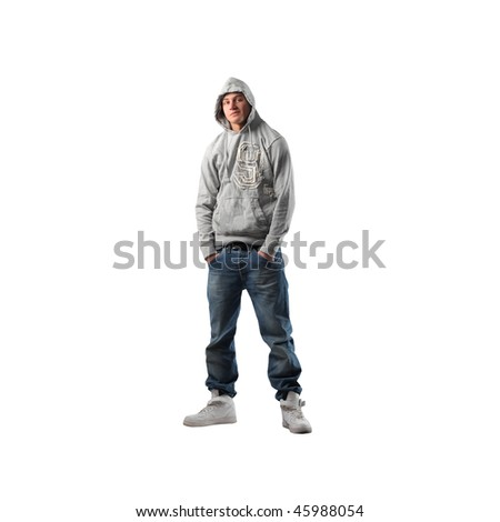 Portrait of a young man in trendy clothes - stock photo