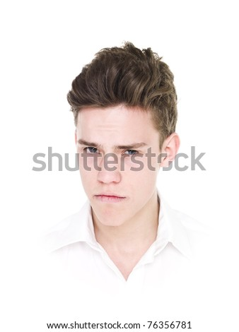 Portrait of a young man isolated on white background