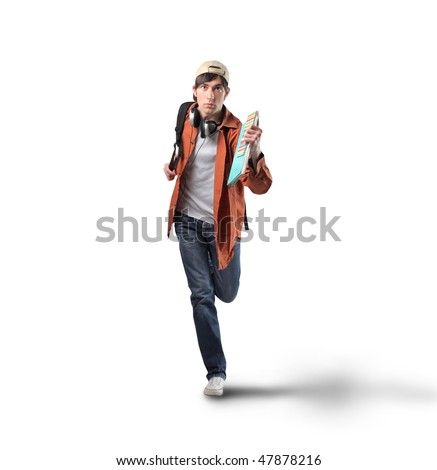 Portrait of a young man running - stock photo