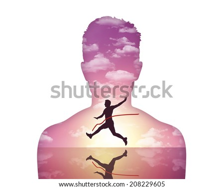 portrait of a young man showing his inner world where he is winning a race at sunset - stock photo