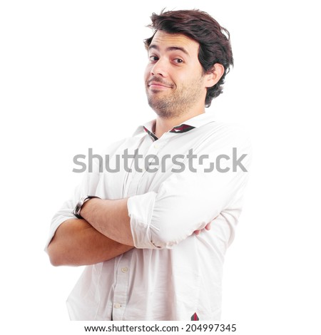 Portrait of a young man smiling with hands folded, isolated over a white background - stock photo