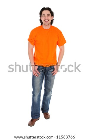 Portrait of a young man standing - stock photo