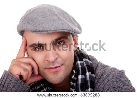 Portrait of a young man , thinking , in autumn/winter clothes, isolated on white, Studio shot - stock photo