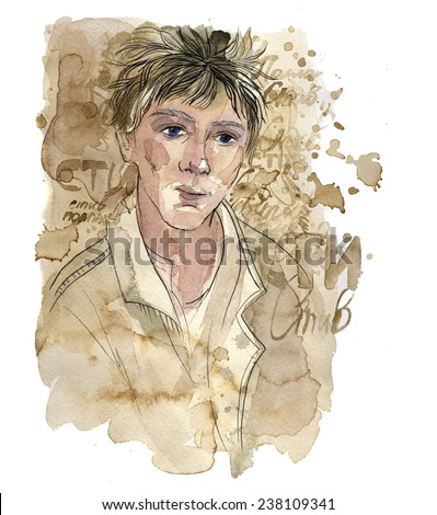 portrait of a young man. watercolor and coffee with black ink. fashion portrait with streaks and spots. wright paper