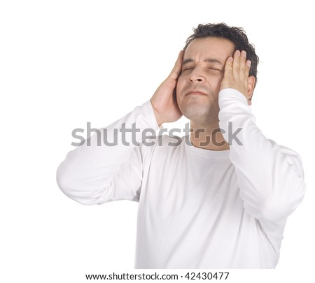 Portrait of a young man with a headache - stock photo
