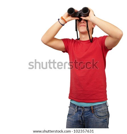 portrait of a young man with binoculars over a white background - stock photo