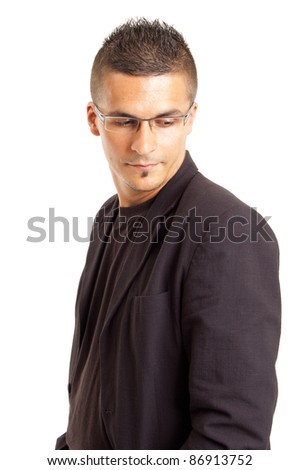 portrait of a young man with glasses, isolated on white