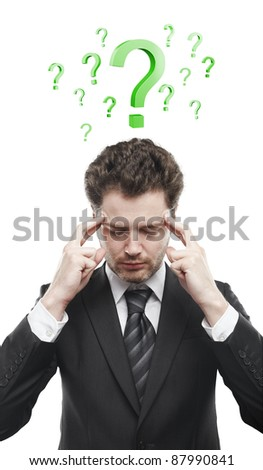Portrait of a young man with green question marks above his head.Conceptual image of a open minded man. Isolated on a white background - stock photo