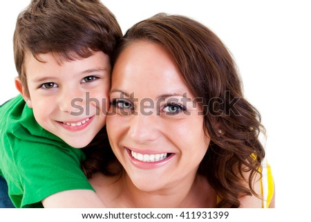 Portrait of a young mother and son