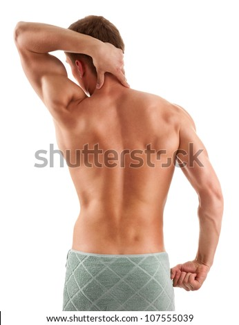 portrait of a young muscular man with a half-naked body - stock photo