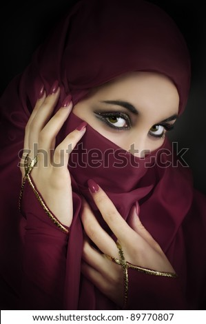 Portrait of a young muslim beautiful woman - stock photo