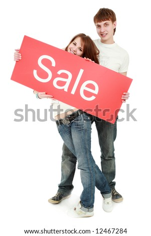 Portrait of a young people. Shot in studio. Best idea for ad sale. Isolated with clipping path. - stock photo