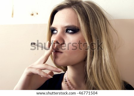 Portrait of a young prostitute - stock photo