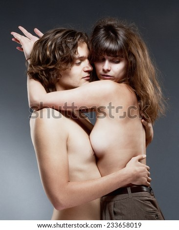 Portrait of a Young Romantic Couple Embracing - stock photo