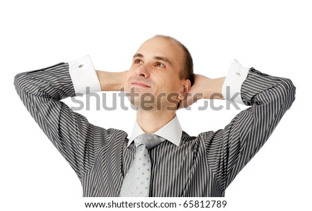 Portrait of a young satisfied business man - stock photo