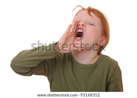 Portrait of a young shouting girl on white background - stock photo