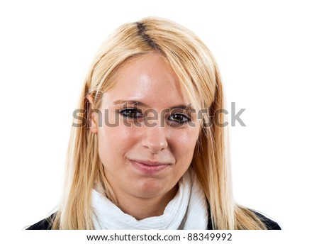 Portrait of a young smiling businesswoman - stock photo