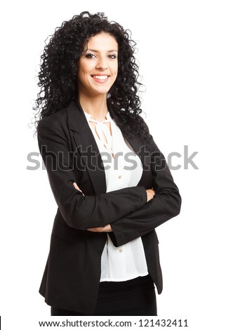 Portrait of a young smiling businesswoman. Isolated on white