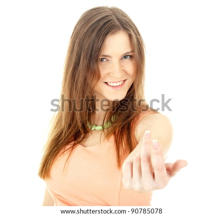 Portrait of a young smiling businesswoman pointing at you. Isolated on white - stock photo