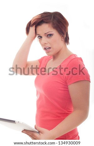 Portrait of a young stressed woman isolated on white background.
