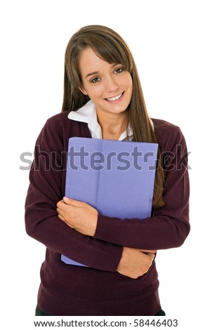 Portrait of a young student/office worker isolated on white - stock photo
